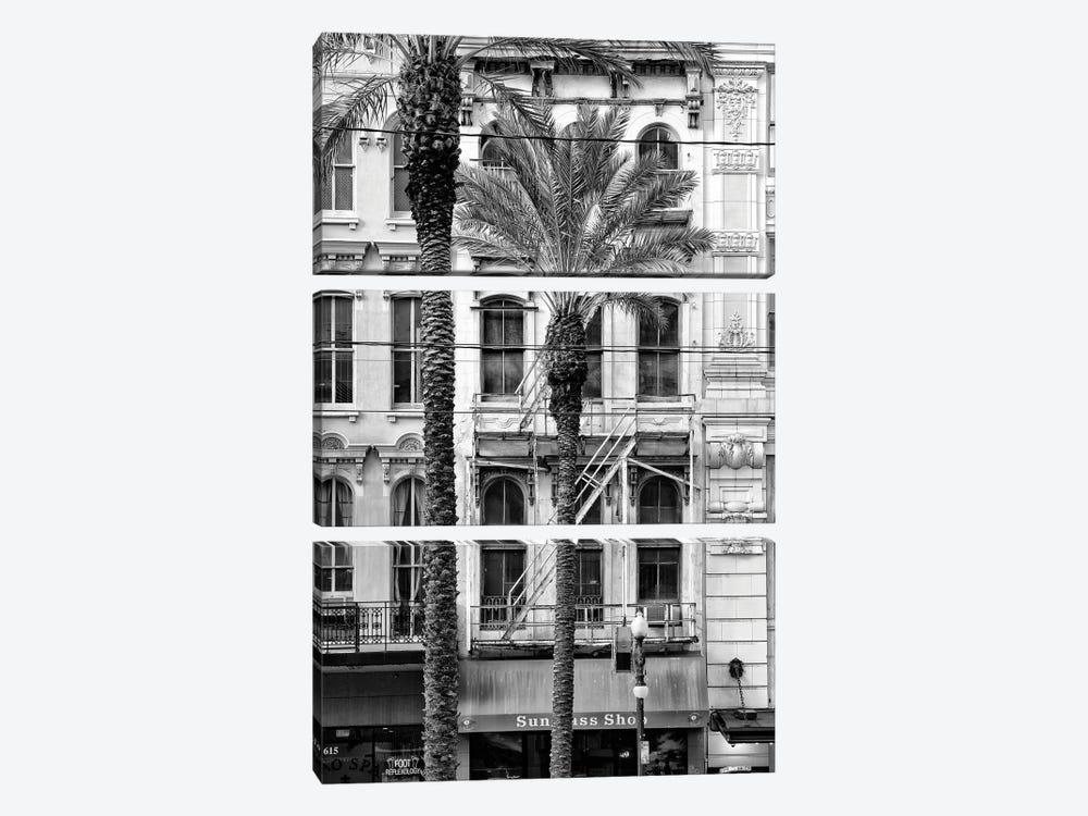 Black NOLA Series - Palm Tree Facade by Philippe Hugonnard 3-piece Canvas Print