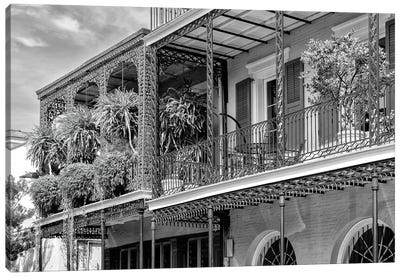Black NOLA Series - The Most Famous Balcony Canvas Art Print