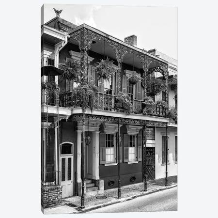 Black NOLA Series - French Quarter Balcony Canvas Print #PHD1978} by Philippe Hugonnard Art Print