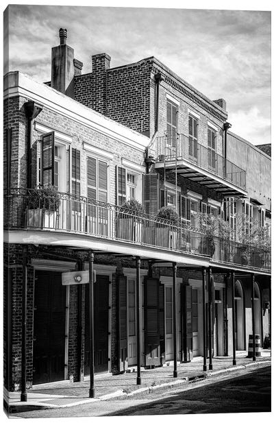 Black NOLA Series - New Orleans Balcony Canvas Art Print