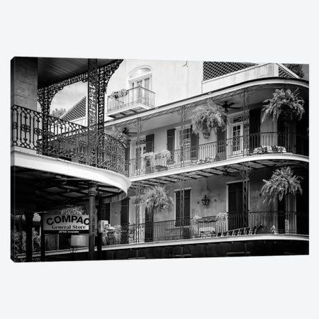 Black NOLA Series - Bourbon Balcony Facades Canvas Print #PHD1984} by Philippe Hugonnard Art Print