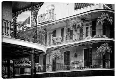 Black NOLA Series - Bourbon Balcony Facades Canvas Art Print