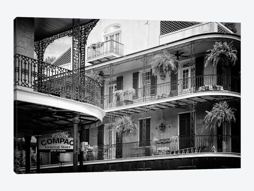 Black NOLA Series - Bourbon Balcony Facades by Philippe Hugonnard 1-piece Canvas Art