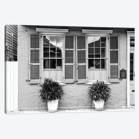 Black NOLA Series - Double Windows Canvas Print #PHD1990} by Philippe Hugonnard Canvas Art Print