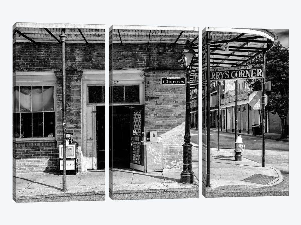 Black NOLA Series - Harry's Corner by Philippe Hugonnard 3-piece Canvas Print