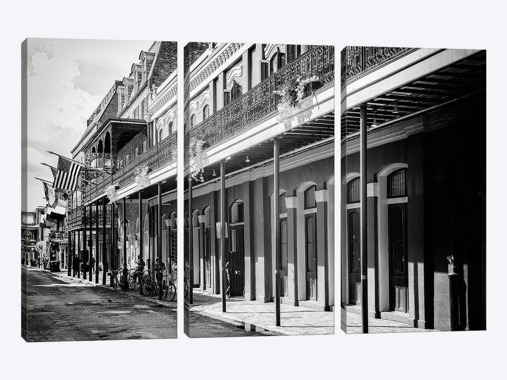 Black NOLA Series - Old Traditional Facades by Philippe Hugonnard 3-piece Canvas Art