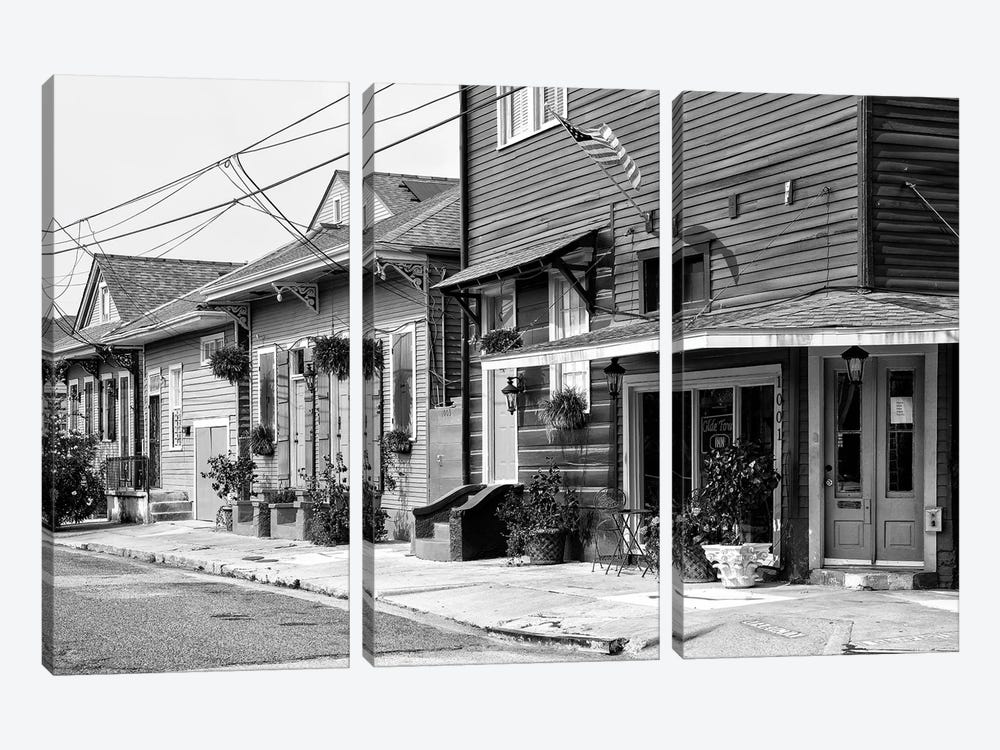 Black NOLA Series - Faubourg Marigny New Orleans by Philippe Hugonnard 3-piece Canvas Wall Art