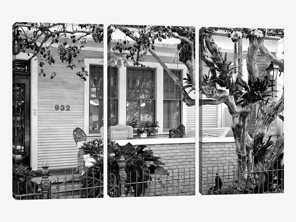 Black NOLA Series - Beautiful New Orleans Facade by Philippe Hugonnard 3-piece Canvas Print