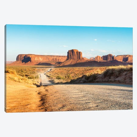 American West - Monument Valley Sunset Road Canvas Print #PHD2064} by Philippe Hugonnard Canvas Wall Art
