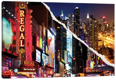 Dual Torn Series - Manhattan Night Canvas Print #PHD20