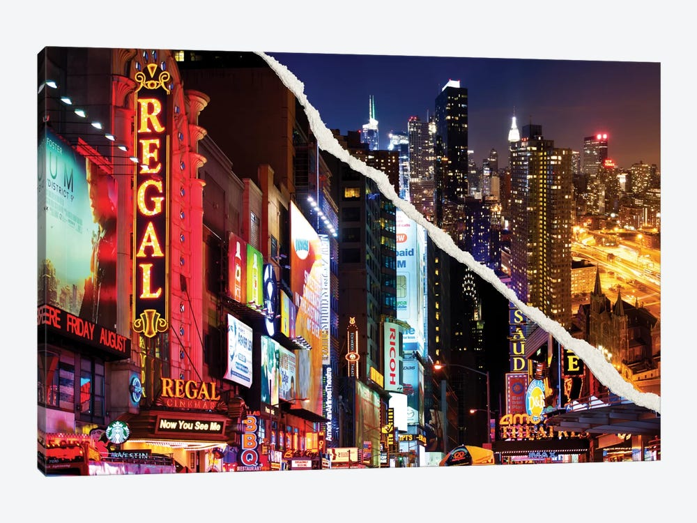 Dual Torn Series - Manhattan Night by Philippe Hugonnard 1-piece Canvas Artwork