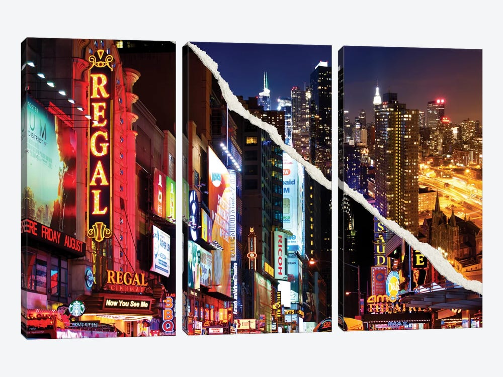 Dual Torn Series - Manhattan Night by Philippe Hugonnard 3-piece Canvas Art