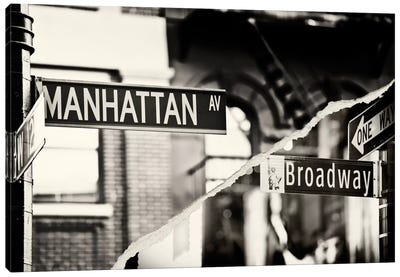 Dual Torn Series - Manhattan Signs Canvas Print #PHD21
