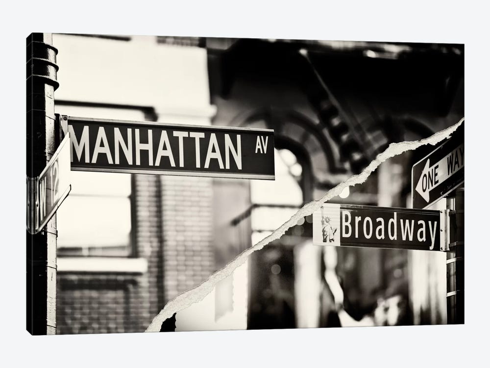 Dual Torn Series - Manhattan Signs by Philippe Hugonnard 1-piece Canvas Print