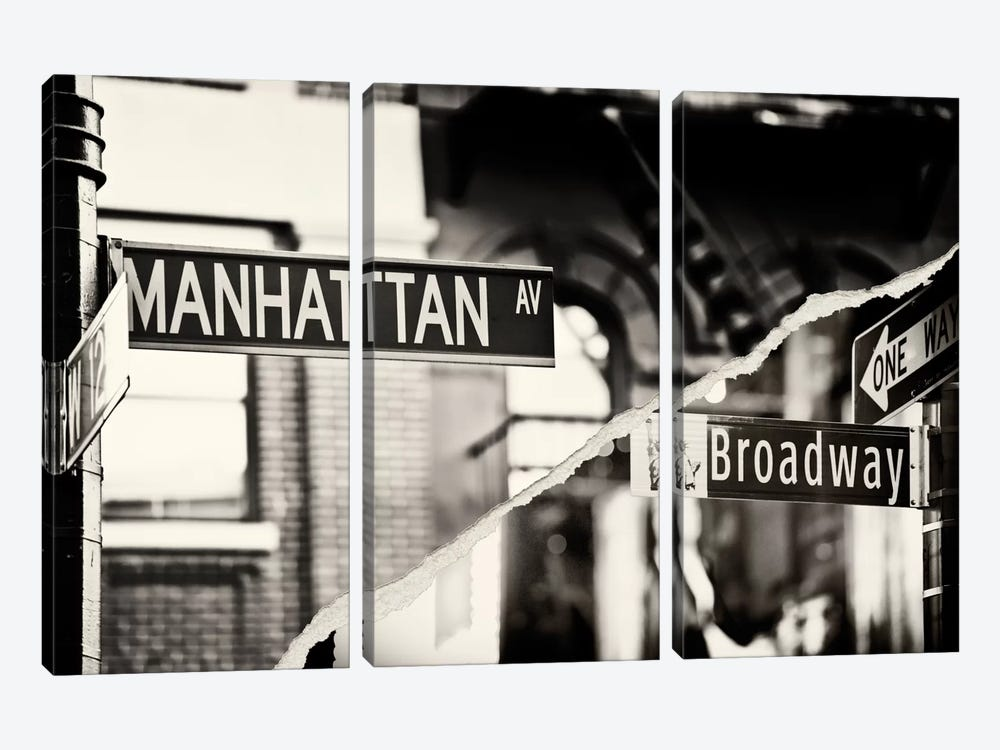Dual Torn Series - Manhattan Signs by Philippe Hugonnard 3-piece Canvas Print