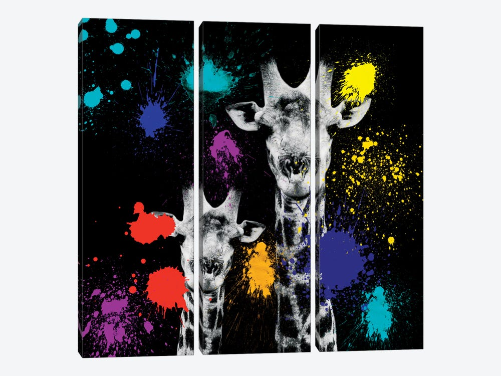 Giraffes Portrait VI 3-piece Canvas Wall Art
