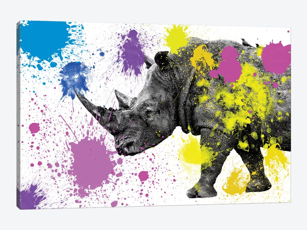 Safari Color Pop Series: Rhino by Philippe Hugonnard 1-piece Canvas Print