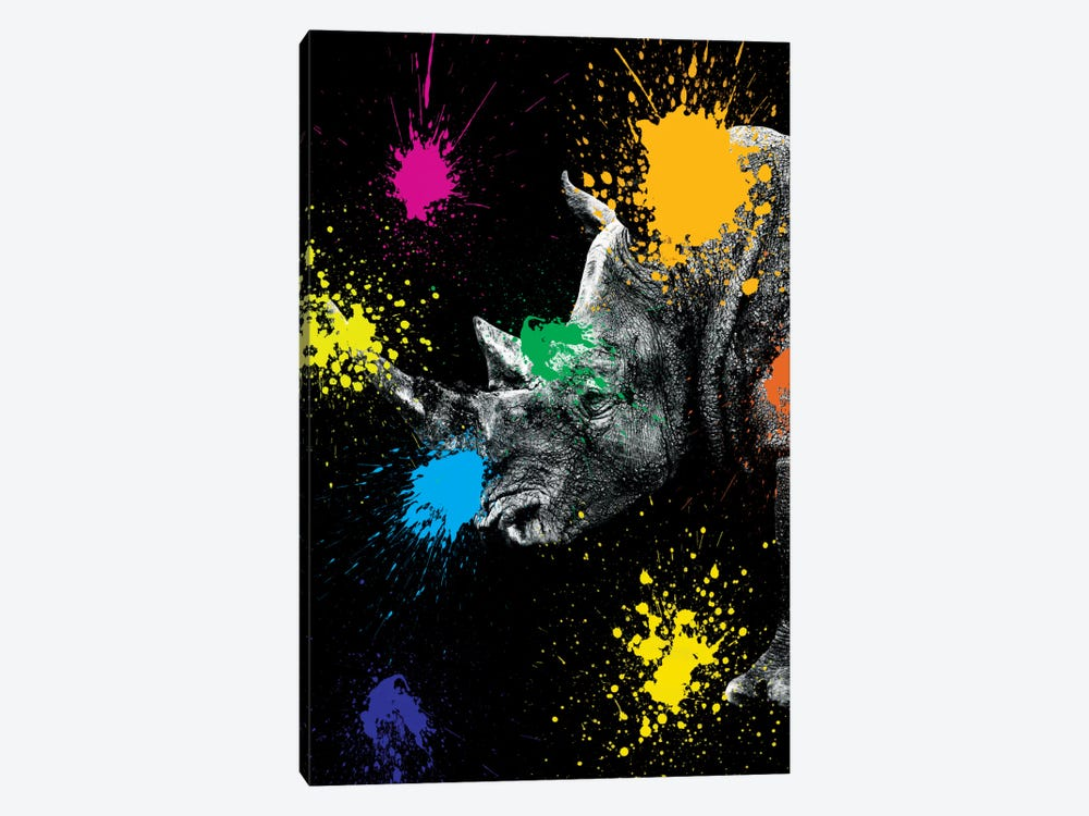 Safari Color Pop Series: Rhino Portrait III by Philippe Hugonnard 1-piece Canvas Art Print