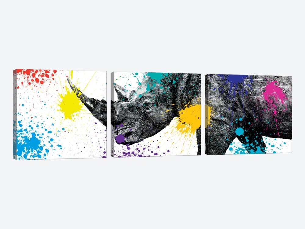 Safari Color Pop Series: Rhino Portrait V by Philippe Hugonnard 3-piece Canvas Wall Art