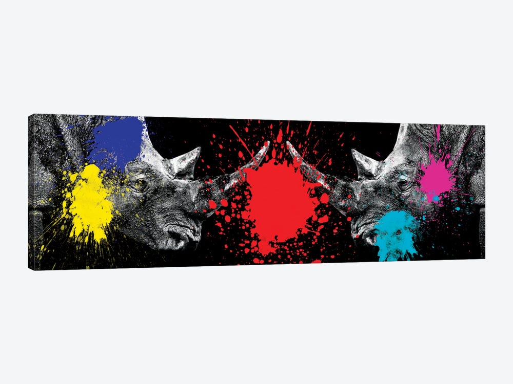Rhinos Face to Face by Philippe Hugonnard 1-piece Canvas Artwork