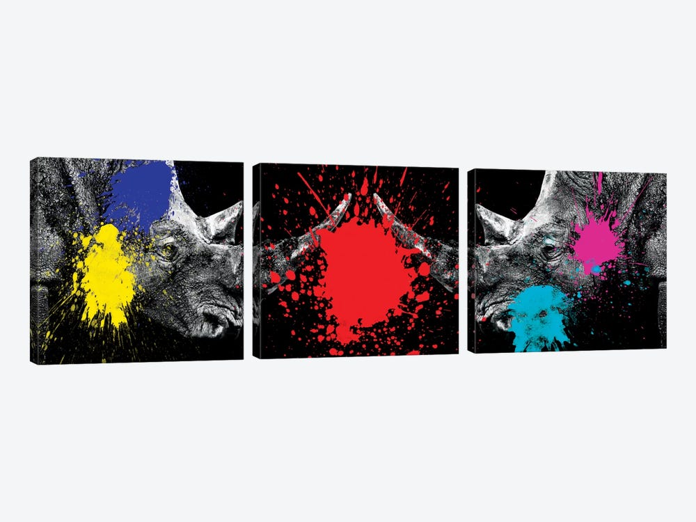 Rhinos Face to Face by Philippe Hugonnard 3-piece Canvas Artwork