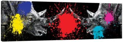 Rhinos Face to Face Canvas Art Print