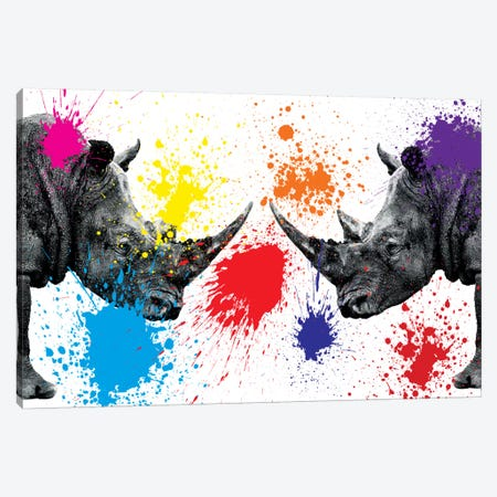 Rhinos Face to Face III Canvas Print #PHD244} by Philippe Hugonnard Canvas Art Print