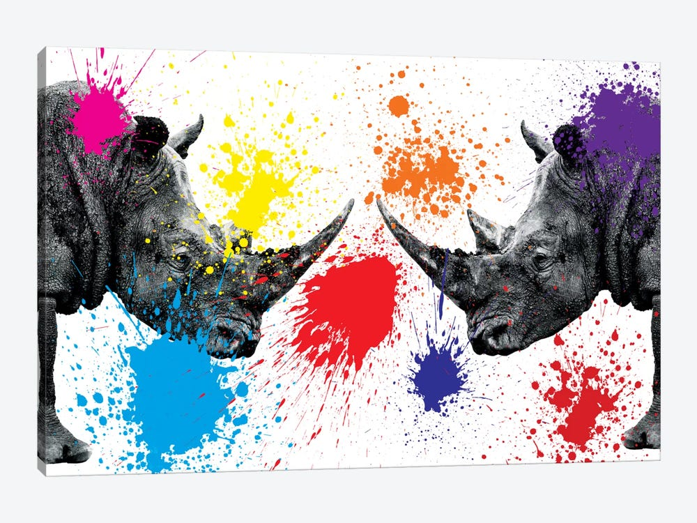 Safari Color Pop Series: Rhinos Face to Face III 1-piece Canvas Art Print