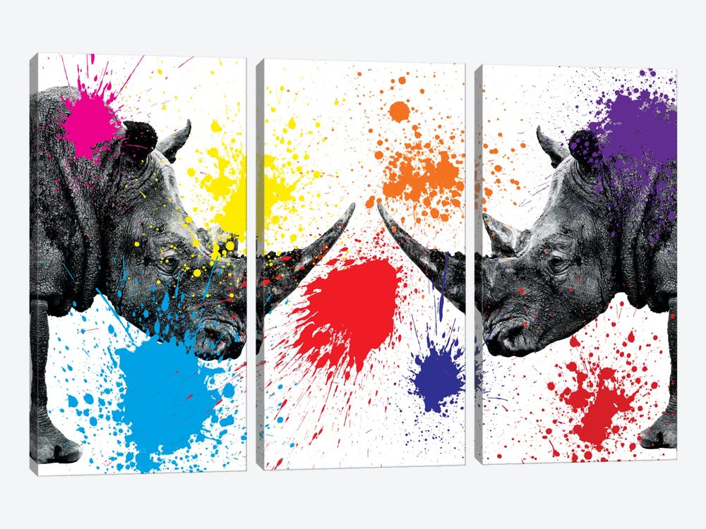 Rhinos Face to Face III by Philippe Hugonnard 3-piece Art Print