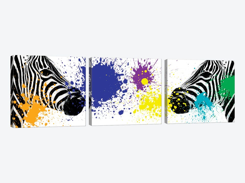 Safari Color Pop Series: Zebras Face to Face III by Philippe Hugonnard 3-piece Art Print