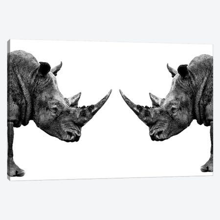 Rhinos Face to Face White Edition Canvas Print #PHD258} by Philippe Hugonnard Art Print