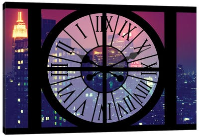 Clock Window Series: Manhattan By Night Canvas Art Print