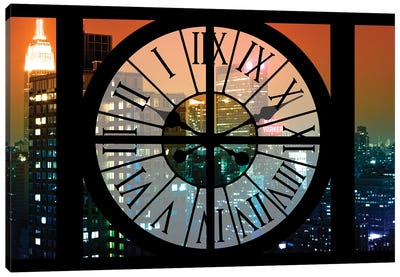 Clock Window Series: Manhattan Night Canvas Art Print