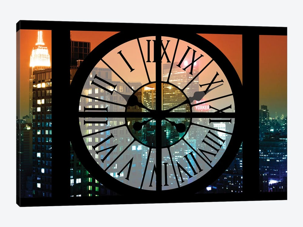 Clock Window Series: Manhattan Night by Philippe Hugonnard 1-piece Canvas Art Print