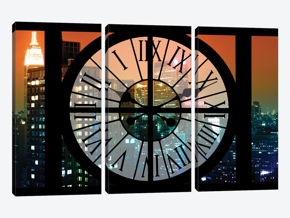 Clock Window Series: Manhattan Night by Philippe Hugonnard 3-piece Canvas Print