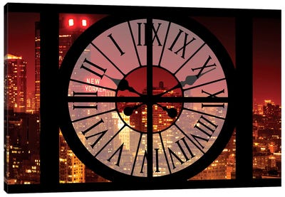 Clock Window Series: NYC Red Night Canvas Art Print