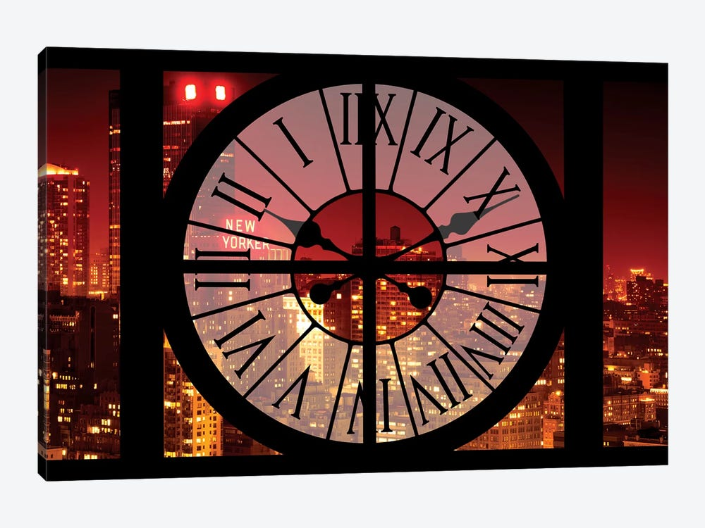 Clock Window Series: NYC Red Night by Philippe Hugonnard 1-piece Canvas Artwork
