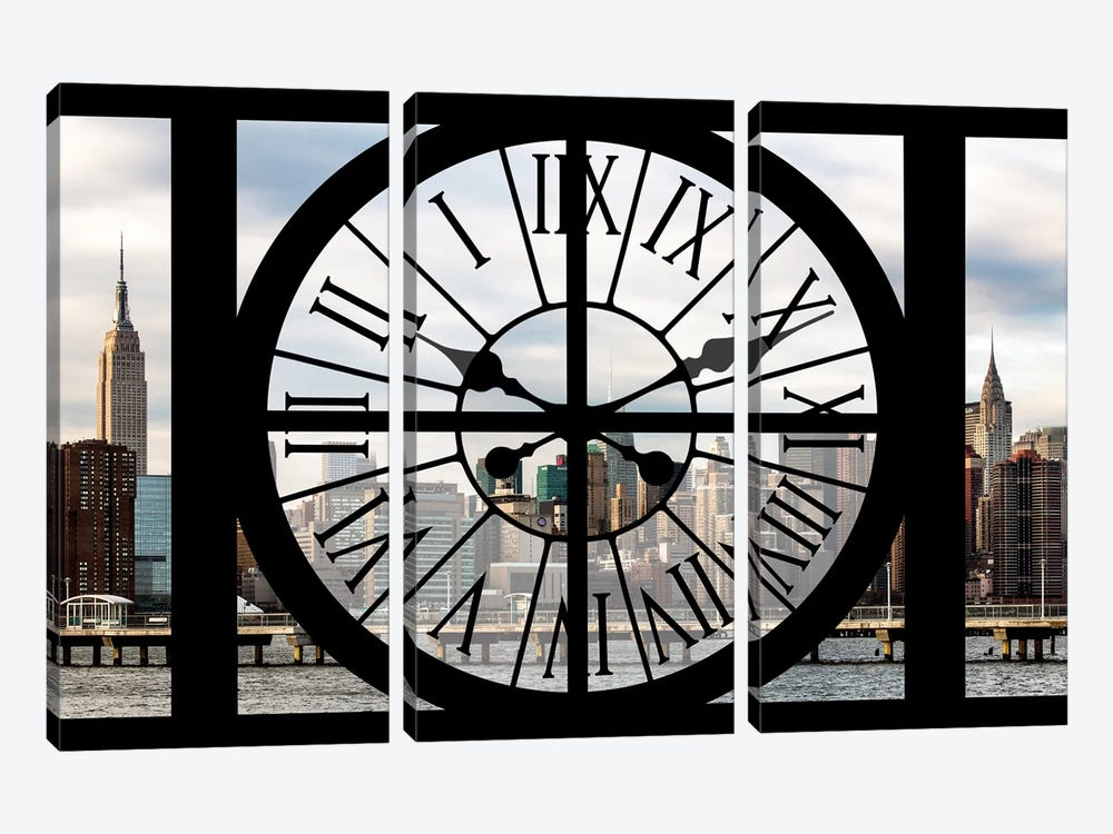 Clock Window Series: Manhattan View by Philippe Hugonnard 3-piece Canvas Print