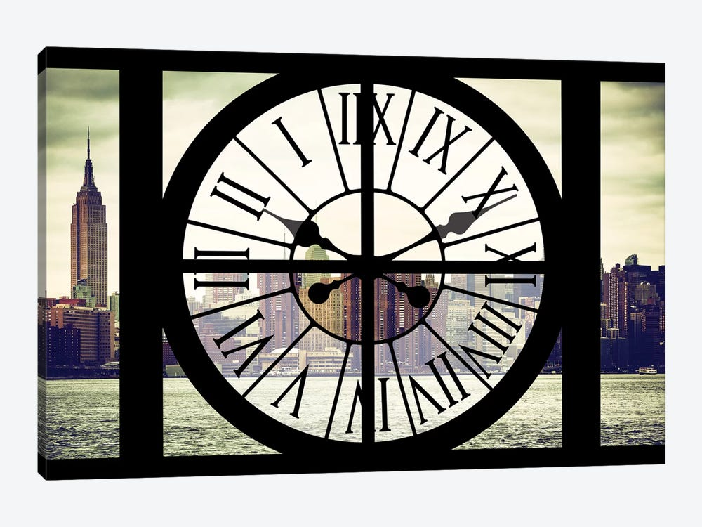 Clock Window Series: New York View 1-piece Canvas Wall Art