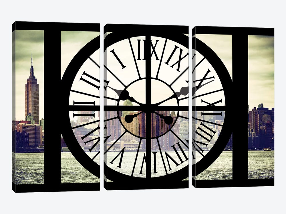 Clock Window Series: New York View by Philippe Hugonnard 3-piece Canvas Art