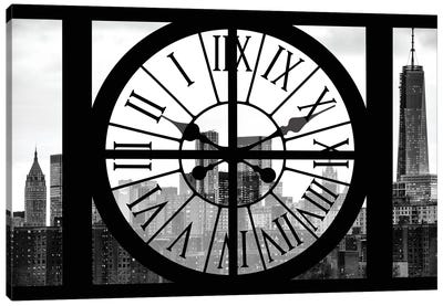 Clock Window Series: Manhattan Buildings Canvas Art Print