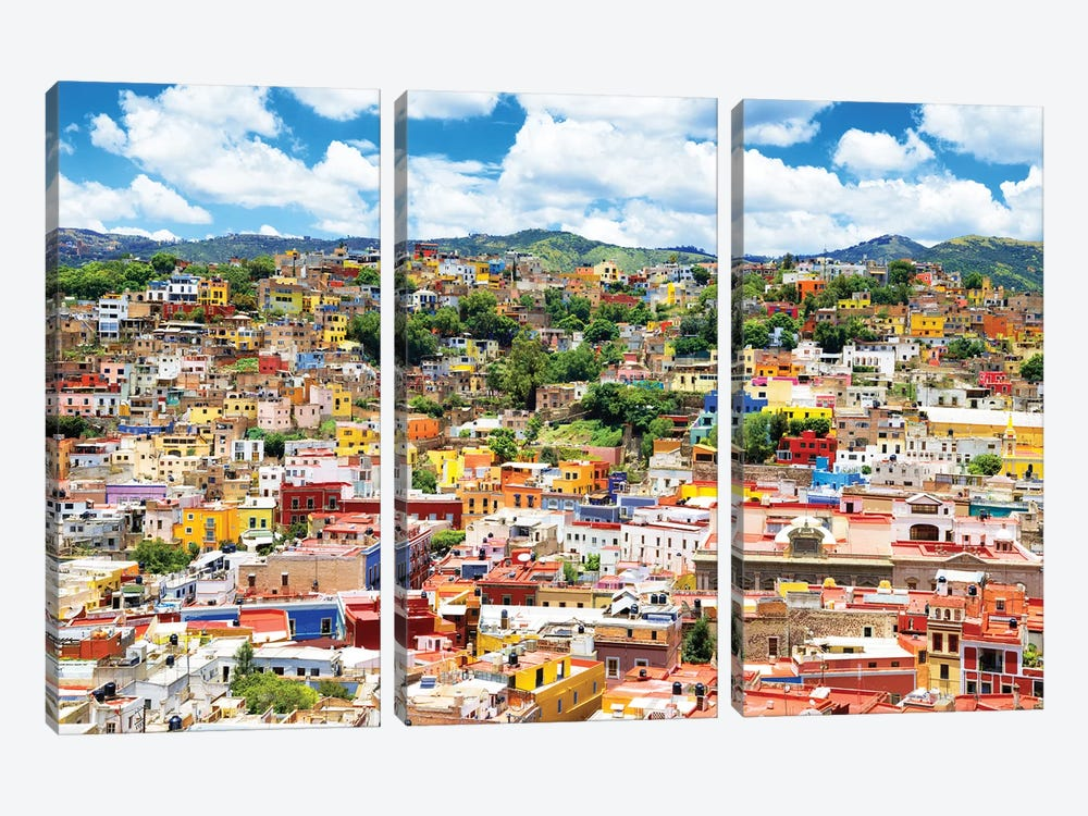 Cityscape Of Guanajuato by Philippe Hugonnard 3-piece Canvas Art Print