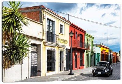 ¡Viva Mexico! Series: Colorful Facades And Black VW Beetle Car Canvas Print #PHD275