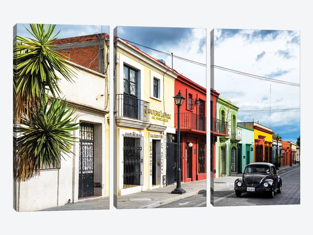 Colorful Facades And Black VW Beetle Car by Philippe Hugonnard 3-piece Art Print