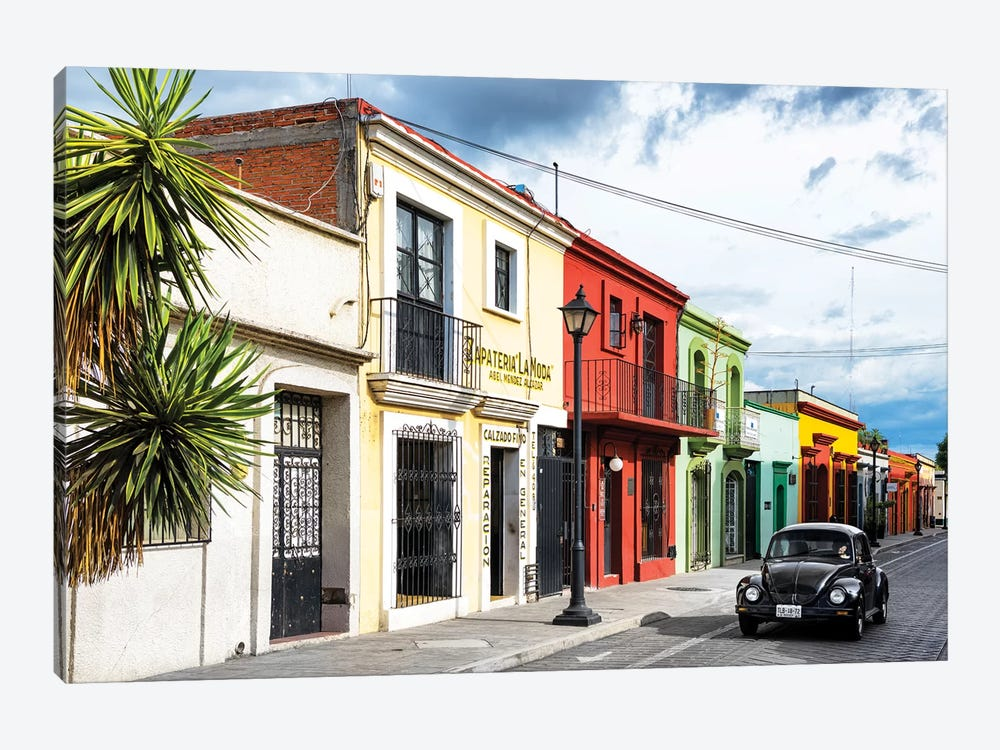 Colorful Facades And Black VW Beetle Car by Philippe Hugonnard 1-piece Canvas Art Print