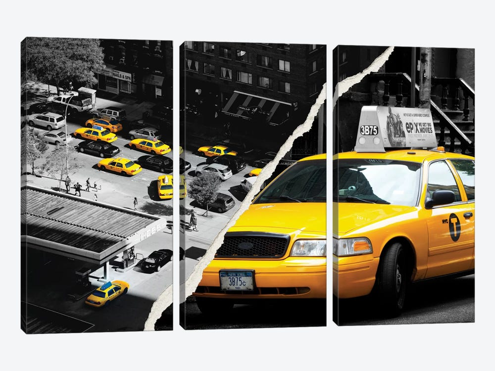 New York Taxis by Philippe Hugonnard 3-piece Canvas Art Print