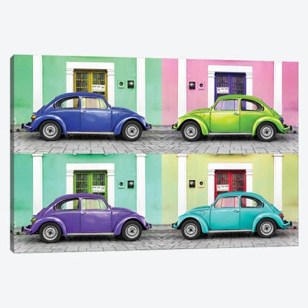 Four VW Beetle Cars I Canvas Print #PHD281} by Philippe Hugonnard Canvas Artwork