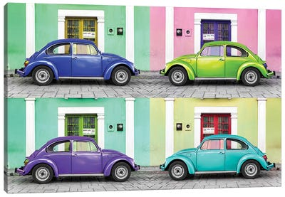 ¡Viva Mexico! Series: Four VW Beetle Cars Canvas Print #PHD281
