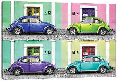 Four VW Beetle Cars I Canvas Art Print