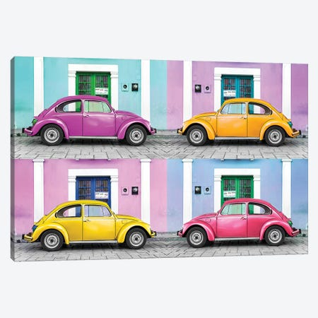Four VW Beetle Cars II Canvas Print #PHD282} by Philippe Hugonnard Canvas Artwork